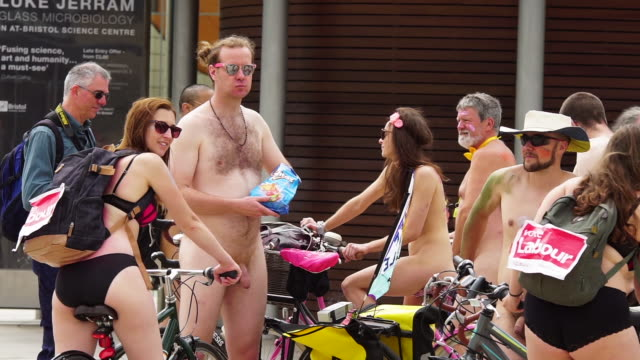 footage of the bristol 2017 world naked bike ride a clothing optional cycling event through the city with the aim of delivering a vision of a cleaner... - body positive stock videos and b-roll footage