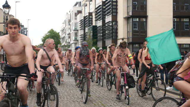 footage of the bristol 2017 world naked bike ride, a clothing optional cycling event through the city, with the aim of delivering a vision of a... - body concern stock videos & royalty-free footage