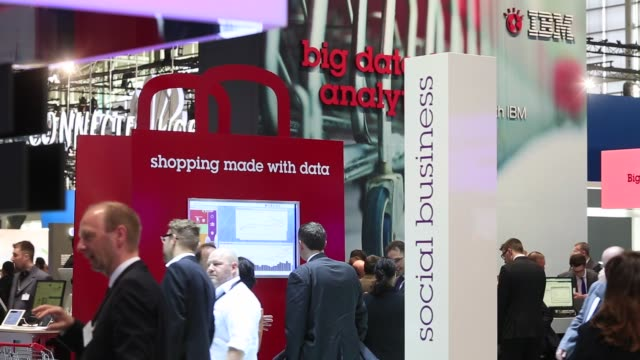 footage of the cebit tech show in hanover, germany, on sunday, march 15, 2015. shots: wide shots of the show floor, shots of big data area with... - big tech stock videos & royalty-free footage