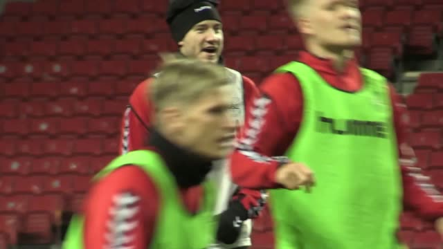 footage of the denmark national side training at the parken stadium copenhagen ahead of their world cup 2018 playoff against republic of ireland... - fifa world cup stock videos & royalty-free footage