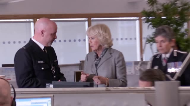 Footage of the Duchess of Cornwall with Met Commissioner Cressida Dick touring the force's service base to learn about TecSOS a technological...