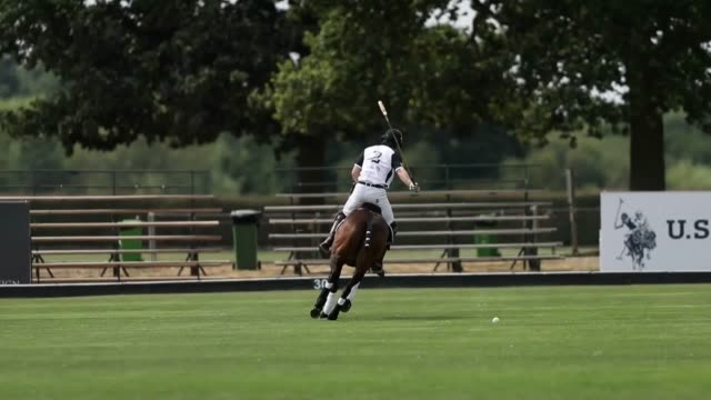 footage of the duke of sussex playing polo in the 2018 sentebale polo cup the tournament helps raise funds for young people afflicted with hiv in... - prinz königliche persönlichkeit stock-videos und b-roll-filmmaterial