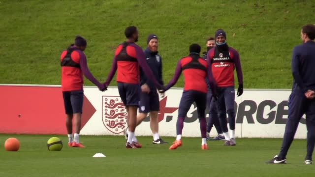 Footage of the England squad training ahead of their friendly against Germany at Wembley Stadium Footage of Jack Butland Joe Hart Jordan Pickford...