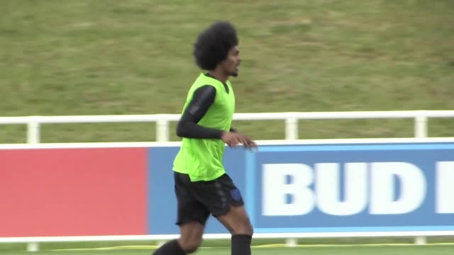 Footage of the England U21 squad training at St George's Park ahead of the U21 European Championships in Rimini