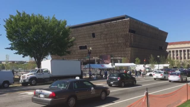 Footage of the exterior of the National Museum of African American History and Culture
