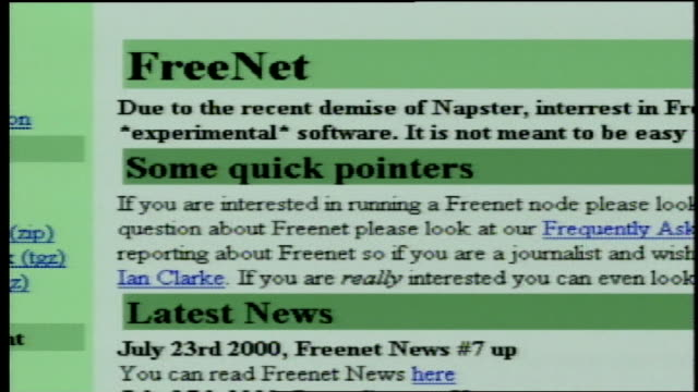 footage of the following file sharing websites: gnutella, freenet, scour exchange, free network project; being shown and used on a computer screen - 2000 stock videos & royalty-free footage