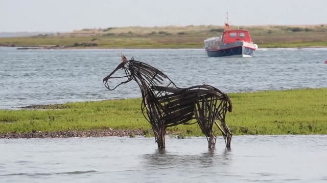 stockvideo's en b-roll-footage met footage of the lifeboat horse a piece created for a 17piece summer sculpture trail in wellsnextthesea it was made by rachael long for her master's... - human interest
