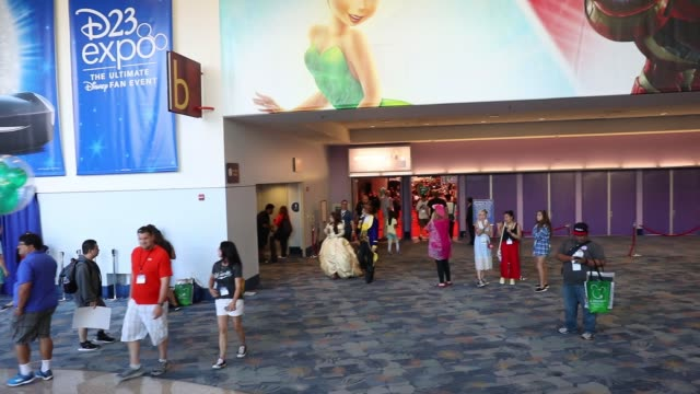 Footage of the lobby and escalators inside the D23 Expo 2017 at the Anaheim Convention Center in Anaheim CA on July 15 2017 Shots footage from...