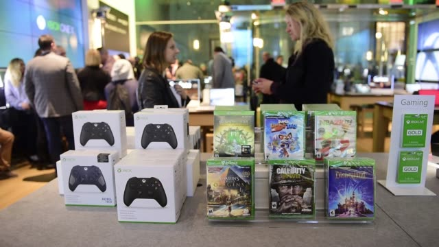 Footage of the Microsoft Corp Xbox One X game console release at a global launch event at the Microsoft Corp flagship store in New York NY on...