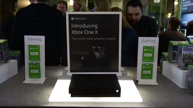 footage of the microsoft corp xbox one x game console release at a global launch event at the microsoft corp flagship store in new york ny on... - launch event stock videos & royalty-free footage