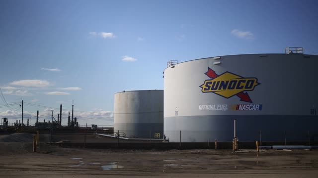 Footage of the Monroe Energy LLC Trainer Refinery Sunoco Logistics Marcus Hook Industrial Complex and the Braskem America polypropylene refinery in...