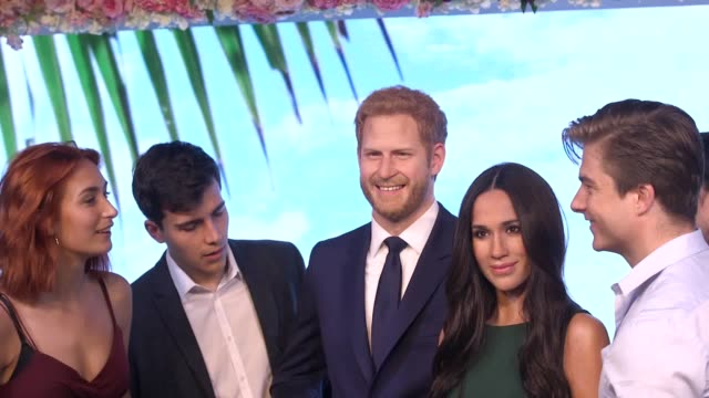 Footage of the new Meghan Markle and Prince Harry wax figure unveiled at Madame Tussauds ahead of the royal wedding Includes interview with principle...