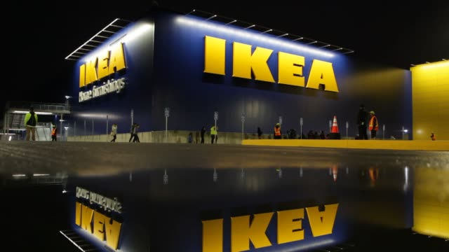 footage of the opening of an ikea store in burbank california on february 8 2017 shots wide shot of ikea as people enter with signage reflected in... - opening ceremony stock videos & royalty-free footage