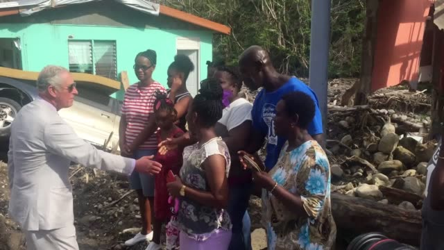 Footage of the Prince of Wales meeting residents in Pointe Michel on Dominica as he continues his tour of hurricaneravaged Caribbean islands