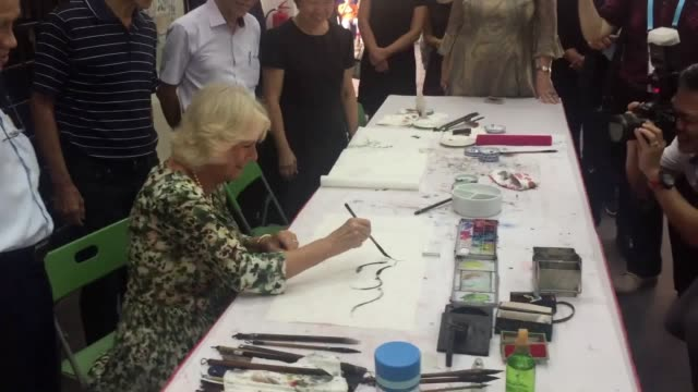 Footage of the Prince of Wales trying out a Dyson vacuum cleaner at the company's Singapore Technology Centre Shots of Camilla doing painting and the...