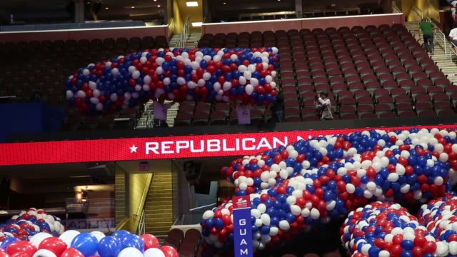 """footage of the quicken loans arena """"the q"""" ahead of the republican national convention in cleveland, ohio, u.s., on friday, july 15, 2016. shots:... - 2016 stock-videos und b-roll-filmmaterial"""