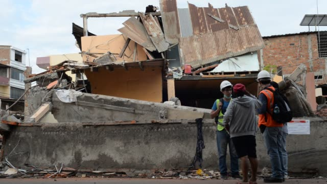 footage of the relief effort in ecuador following an earthquake in pedernales, ecuador on april 23, 2016 shots wide shot of open street with huge... - rubble stock videos & royalty-free footage