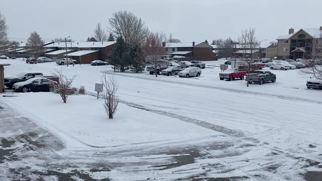 footage of the road conditions and snowfall in laramie, wyoming. - wyoming stock videos & royalty-free footage