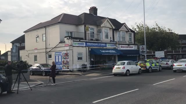 vídeos de stock, filmes e b-roll de footage of the scene in in aldborough road north, ilford where a toddler and three-year-old boy were stabbed to death. the toddler was pronounced... - ilford