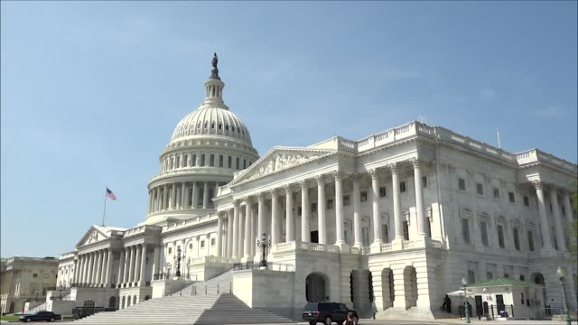 footage of the united states capitol building from the eastern senate side including a close up on the senate side, tourists walk in front of the... - senate stock videos & royalty-free footage