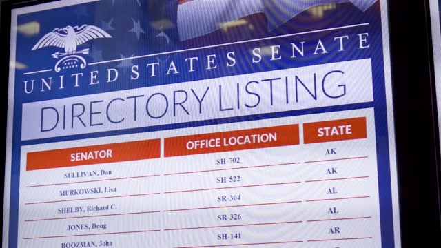 footage of the united states senate directory listing electronic billboard on the day protesters rallied against supreme court nominee judge brett... - electronic billboard stock videos & royalty-free footage