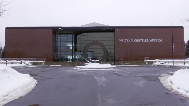 stockvideo's en b-roll-footage met footage of the walter p chrysler museum both inside and outside shot on the day before the museum closed permanently - chrysler