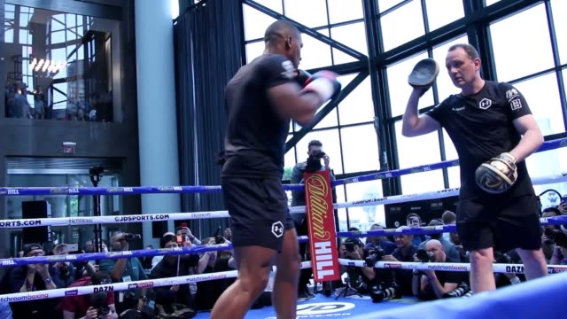 footage of the workouts for anthony joshua andy ruiz jr katie taylor and callum smith in new york before their card on saturday with joshua and ruiz... - anthony joshua boxer stock videos & royalty-free footage