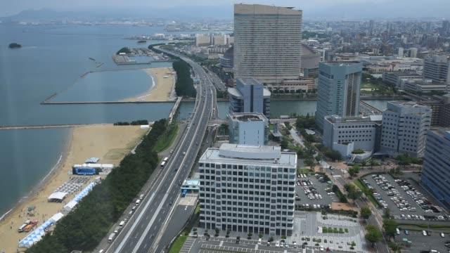 Footage of the Yahuoku Dome and general views of the city of Fukuoka Japan on July 18 2015 Shots wide full shot of the Yahuoku Dome tighter pan right...