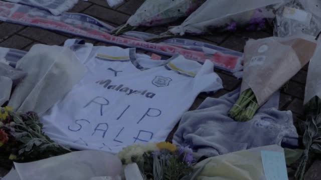 Footage of tributes left by football fans for missing footballer Emiliano Sala who was on a flight that lost contact with radar near Alderney in the...
