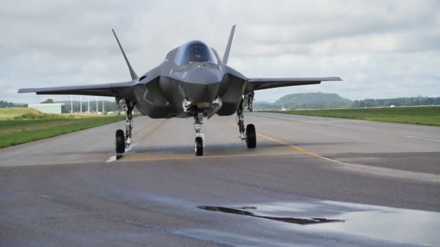 footage of various aircraft, taxiing, taking off and landing during exercise northern lightning 2019. - fighter stock videos & royalty-free footage