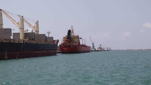 footage of various boats at a port in hodeiah - yemen stock videos & royalty-free footage