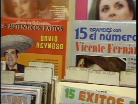 Footage of Various Records in Tijuana Record Store