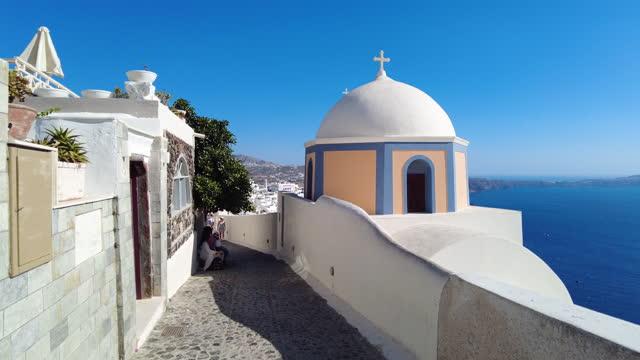 footage of walking on a street in santorini, greece - cyclades islands stock videos & royalty-free footage