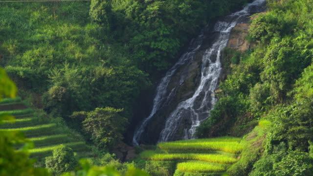 4K footage of waterfall along Vietnamese