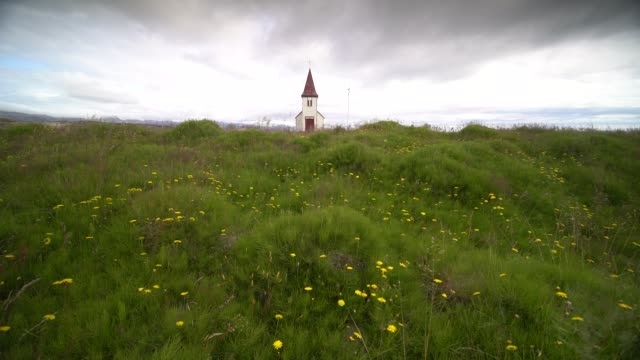 footage picturesque church in hellnar, snaefellsnes peninsula, iceland - chapel stock videos & royalty-free footage
