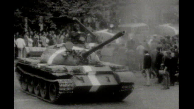 footage russian tanks along in prague - czech republic stock videos & royalty-free footage