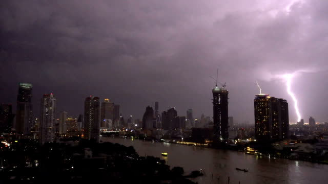 fhd footage scene of lightning with thunderstorm clouds at night over the bangkok cityscape river side, thailand, nature and cityscape concept - lightning stock videos & royalty-free footage