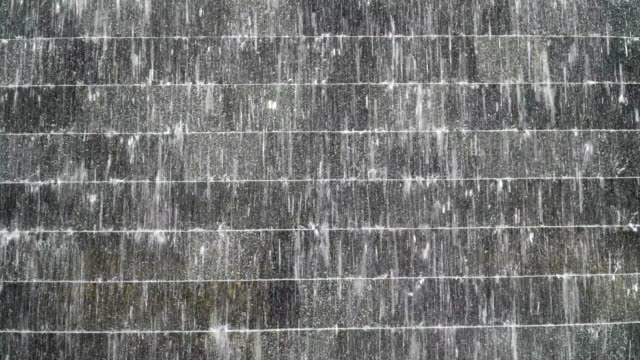 footage scene of modern water curtain close up with rock and brick wall - modern rock stock videos & royalty-free footage
