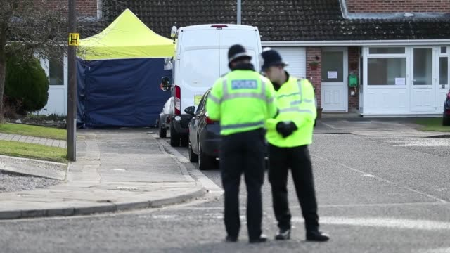 Footage showing police presence from the cul de sac Christie Miller Road in Salisbury which is home to Sergei Skipral And the tent covering the bench...