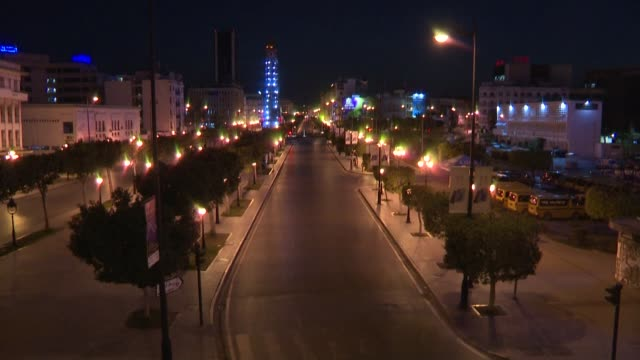 footage shows empty streets in the tunisian capital tunis after the government imposed a curfew to slow the spread of the coronavirus - tunis stock videos & royalty-free footage