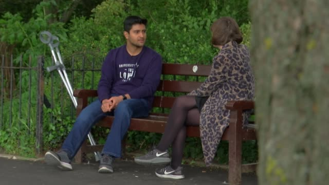 footage shows graphic hit and run of cyclist in highgate; england: london: ext josh dey interview sot various shots of dey and reporter chatting... - highgate stock videos & royalty-free footage