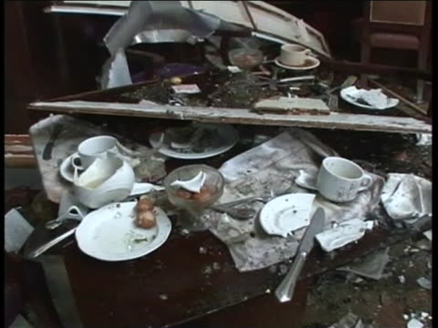 footage taken after the islamabad marriott hotel bombing shows some of the interior damages caused by the disastrous blast - crime or recreational drug or prison or legal trial stock videos & royalty-free footage