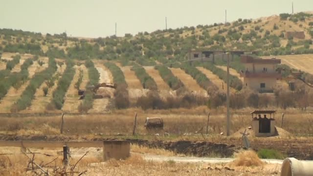 A footage taken from Karkamis district of Turkey's Gaziantep province which has border with Jarabulus district of Syria's Aleppo province shows Daesh...