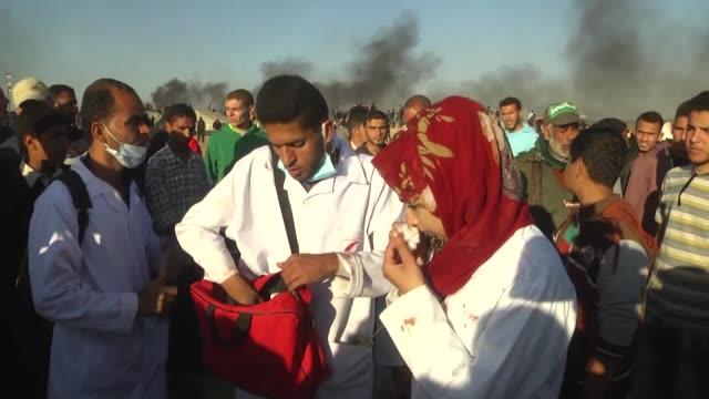 Footage taken on June 01 2018 shows Razan Ashraf Najjar seen during the protest at GazanIsraeli border A Palestinian volunteer paramedic was killed...