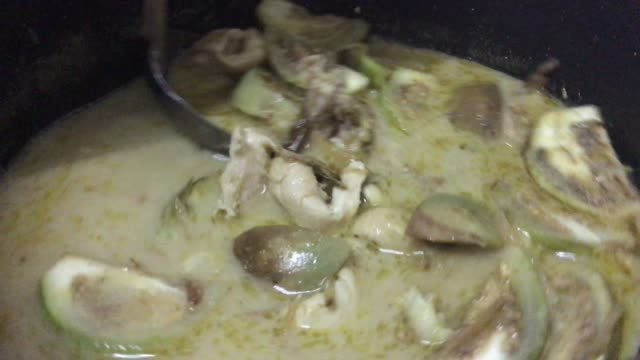 footage thai green curry with chicken and eggplant - ladle stock videos & royalty-free footage