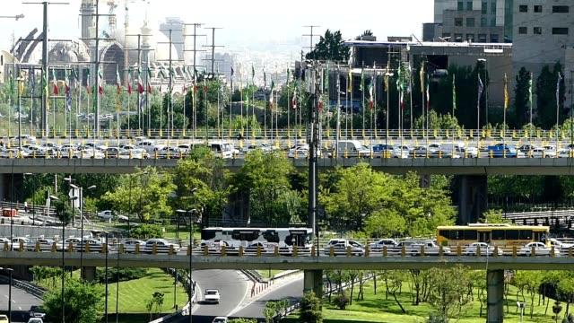 footage traffic taken from tabiat bridge in tehran, iran - tehran stock videos & royalty-free footage