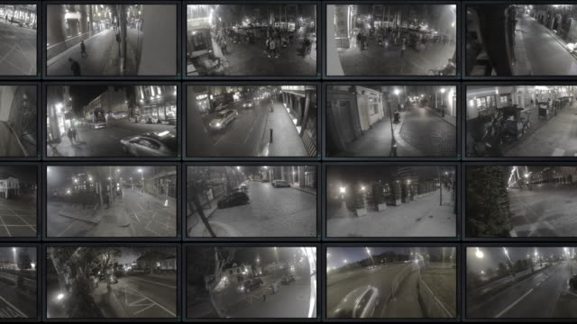 cctv footage - sala di controllo video stock e b–roll