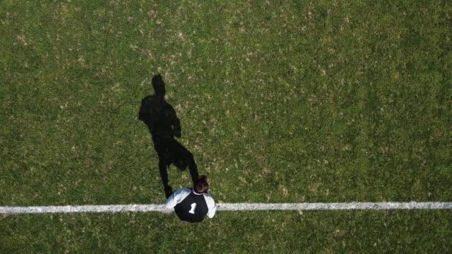 football, aerial view, goalkeeper - international team soccer stock videos & royalty-free footage