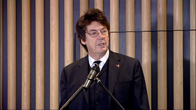 blue plaque unveiled at wembley mike read speech sot / brooking and isaac lord unveiling blue plaque in honour of the founding fathers of football /... - football association stock videos & royalty-free footage