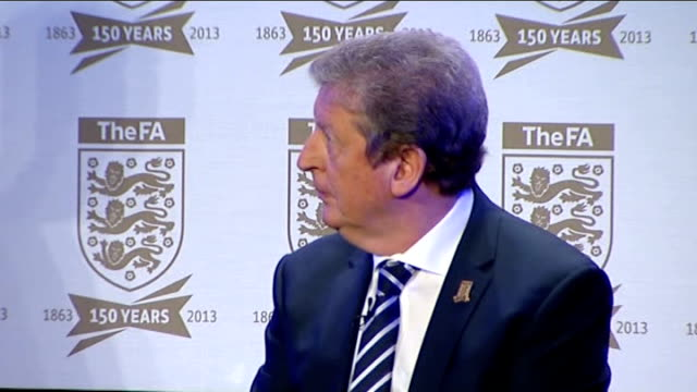 football association celebrates 150th anniversary interviews and press conference roy hodgson michael owen and dave clarke being introduced / roy... - football association stock videos & royalty-free footage